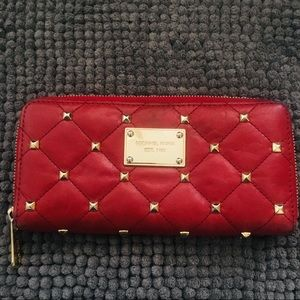 Michael Kors red and gold studded wallet🌹✨